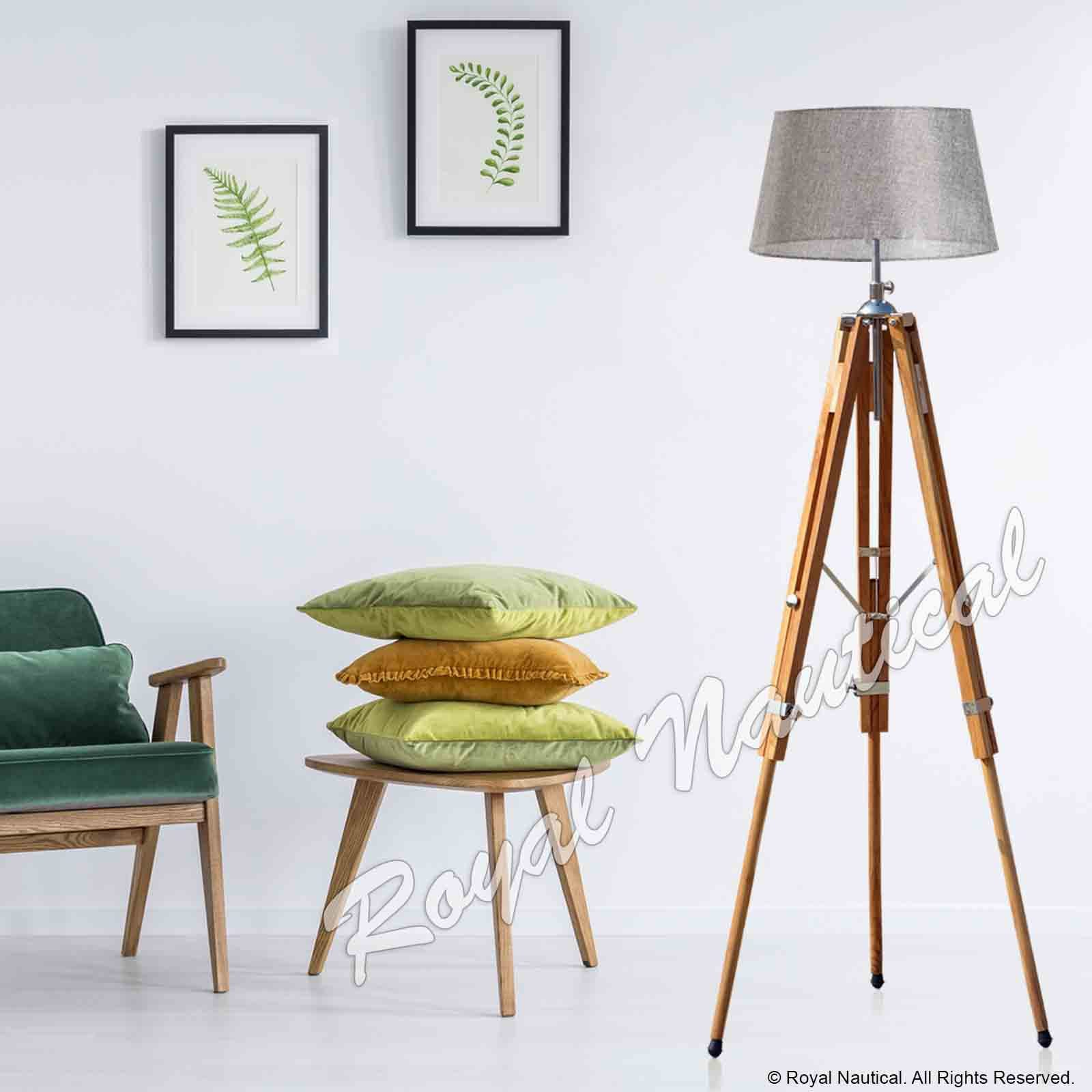 Nautical Teak Wood Tripod Wooden Floor Lamp Lighting Home Decor Without Shade