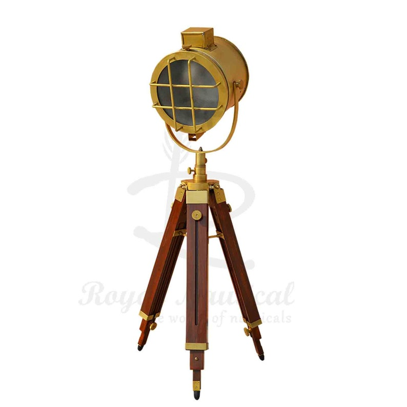 Nautical Antique Finish Vintage Style Wooden Tripod Floor  LED Lamp With Shade