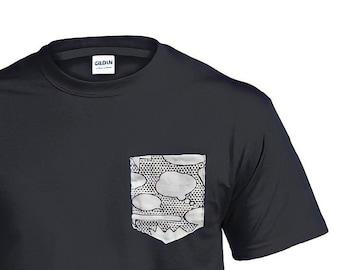 Geek Pop Art tshirt, Pocket Shirt for men, Geek Graphic Tee for men, Comic book gifts for boyfriend, Superhero tshirt, Nerdy gifts for him