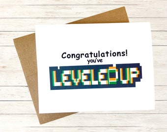 Gamer Birthday Card, Funny Pregnancy Announcement Card for Husband,  Personalized Best Friend Birthday Card, Back to School Card, Leveled Up