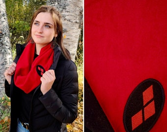 Harley Quinn, Red Scarf for Women, Infinity Scarf, Circle Scarf, Warm Scarf, Geek Gifts for Her, Birthday Gifts for Teen Girls, Autumn Gifts