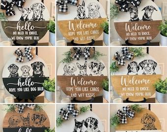 Personalized Peeking Pet Portrait Door Hanger from photo/ Pet Portrait Door Decor/ Pet Welcome Plaque/ Dog Cat Door Hanger/ Pet Owner Gift