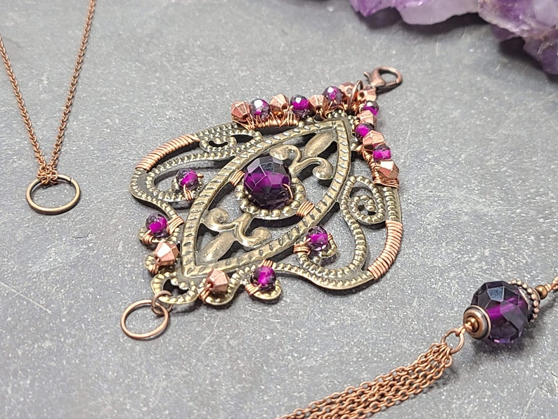 Interchangeable Statement Pendant Charm Necklace Set Removable Purple Copper Charm Necklace Handmade Jewelry Gift for Her Gift Box Included