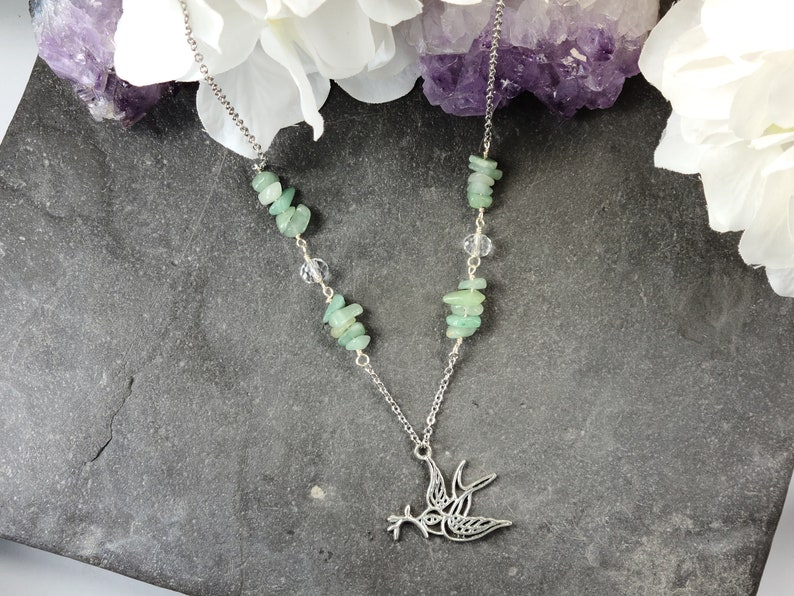 Green Aventurine Beaded Peace Dove Necklace Gemstone Jewelry Gift for Her
