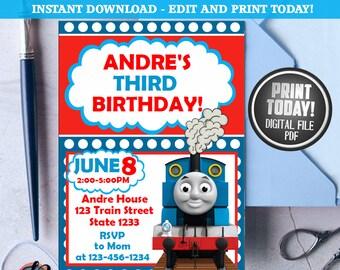 Thomas Train Invitation Birthday Party Printable