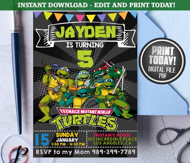 Ninja Turtles Invitation Birthday Invite Party