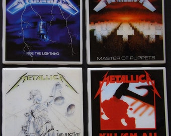 Set of four Iron Maiden Album Art Ceramic coasters Run to the Hills//Killers//Fear of the Dark//Final Frontier