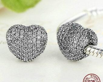 166c6e573 Luxury 925 Sterling Silver Sparkling Heart Clip Charm Fit Original Pandora  Beads Bracelet & Necklace For Women Fine Jewelry