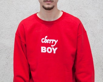cc31441bb977 Cherry Boy Sweatshirt - White Crewneck - Golf Wang Hoodie - Vintage Crewneck