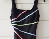 80s 90s Longitude One Piece Swimsuit, Black Neon Pink Green Blue Stripes, Bathing Suit size 10 Womens, Scoop Back
