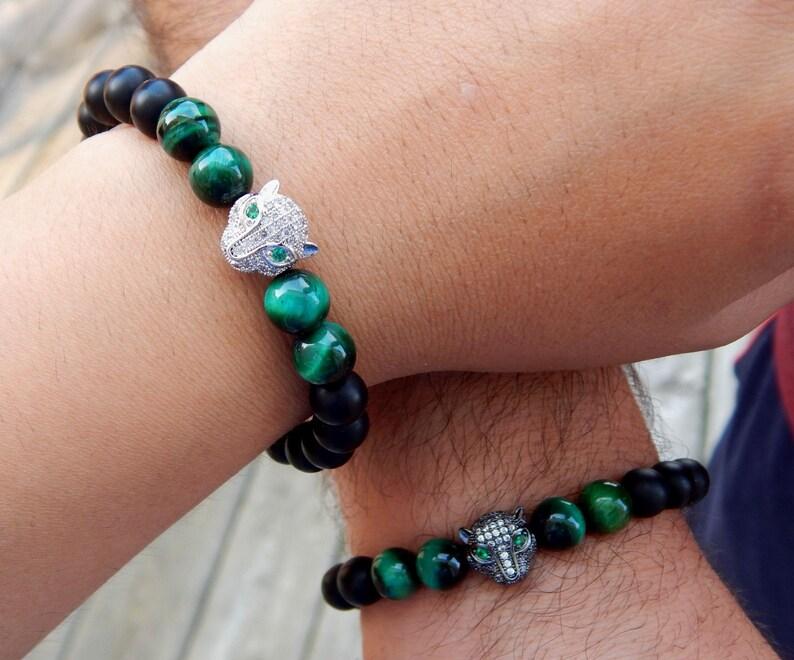 Jaguar Bracelet Mother Day Unisex Bracelet| Christmas Gift Couples Bracelet Black Matte  and Green Tiger Eye Beads 8mm