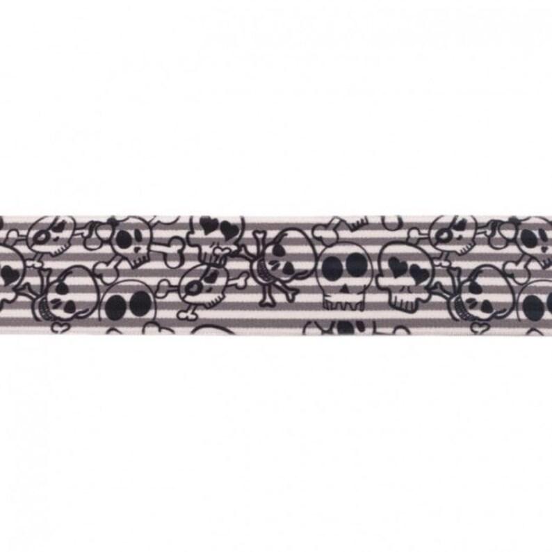 240EUR/m Gummiband Skulls grau/schwarz gewebt 40mm image 0