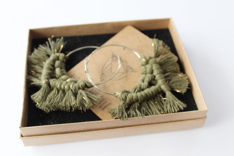 Avocado green with gold strings handmade macrame earrings on a brass hoop ring