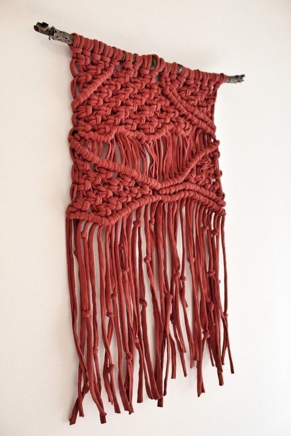 Red Macrame Wall Hanging Handmade Bedroom Wall Decor Etsy