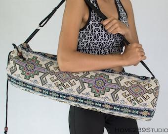 Gorgeous upcycled yoga mat bag boho chic hippie crossbody drawstring repurposed yoga sling bag machine washable vegan     FREE SHIPPING