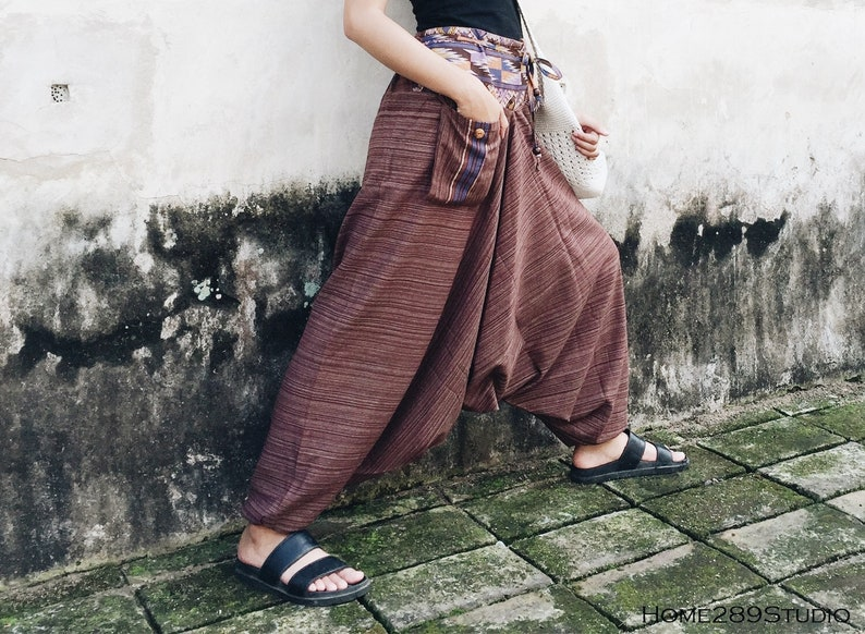 Buddha Pants Yoga Pants Red Brown Harem Pants Bohemian Pants Baggy Design by Home289Studio