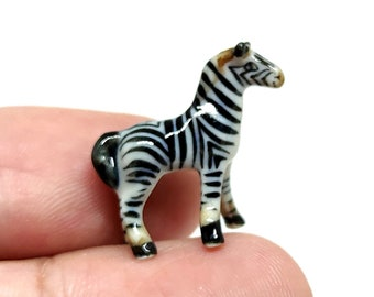 Zebra Micro Tiny Figurines Ceramic Hand Painted Animals Collectible Small Gift Home Decor
