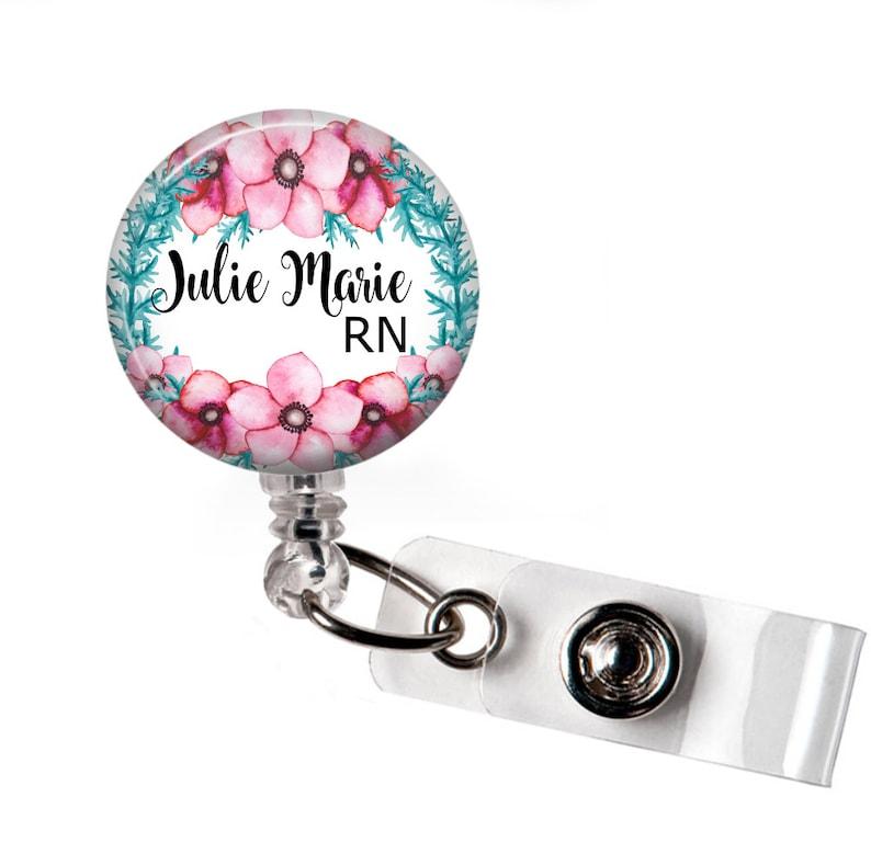 ID Badge Reel RN Badge Reel Retractable badge holder Nurse Badge Reel P013 Floral Badge Reel Nurse gift badge reel Personalized gift