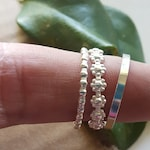 Sterling Silver Stack Rings in Flower, Plain or Beaded Pattern Band