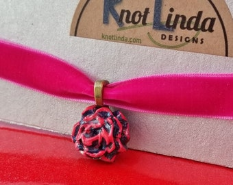Bright Pink Velvet Choker with Handmade Black & Pink Rose Pendant