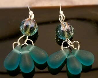 Nifty Dangle Earrings with Aqua Sea Glass Teardrops Dancing under a Stunning Czech Glass Bead