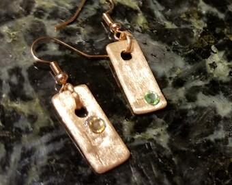 Elegant Handmade Copper and Crystal Dangle Earrings