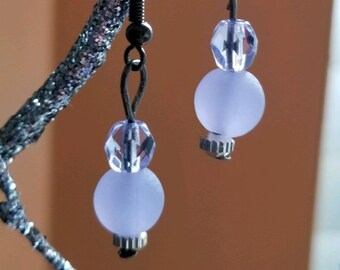 Pretty Periwinkle Sea Glass and Crystal Drop Earrings