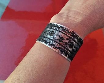 Black Lace & Silver Metallic Pleather Bracelet