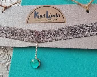 Silver Lace Choker with Aqua & Silver Charm