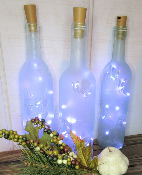 Frosted Wine Bottles/Rustic Wedding Lantern Centerpiece/Wine | Etsy