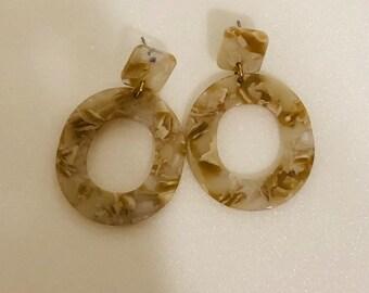 272e8ca38 Tortioise shell earring, Square post hollow oval dangle drop earrings,  Beige tortoise shell dangle earring, Acetate statement earrings