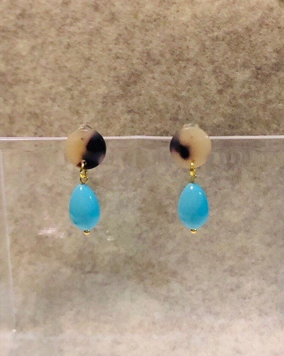 Gift for Her Bead Drop Earrings Natural Amazonite Earrings Stone and Glass Bead Earrings Handmade Jewelry