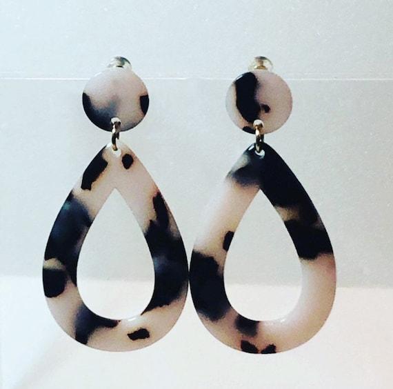 Long Oval Acetate  Earrings Resin Dangle Drop Earrings Acetate Dangle Drop Earrings Gift For Her |B10 Tortoise Shell Dangle Earrings