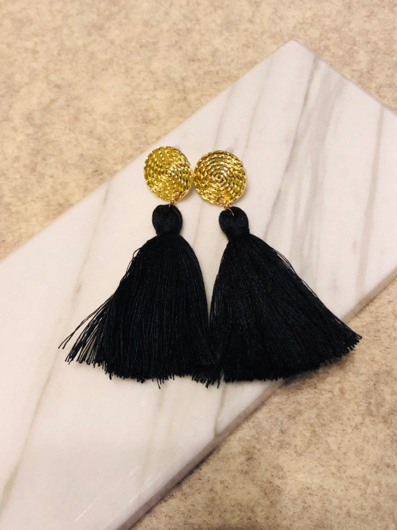 Geometric circle disc earring stud long tassel dangle drop earrings Chunky organic cotton tassel earrings Handmade organic cotton tassel