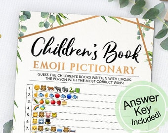 Children's Book Emoji Pictionary, Emoji Game, Baby Shower Game, Instant Download, Printable, Baby Shower Idea, Printable Cards, Greenery