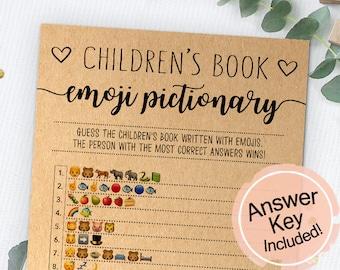 Children's Book Emoji Pictionary, Baby Shower Emoji Game, Baby Shower Game, Instant Download, Printable Game, Baby Shower Activity