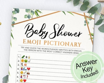 Baby Shower Emoji Pictionary, Emoji Game, Baby Shower Game, Instant Download, Printable, Baby Shower Idea, Printable Cards, Greenery, Copper