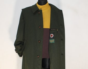 AZ Model Avantgarde Vintage Loden Coat ML Black Brown Checked Trimming Cubism Gold Buttons Made in Germany Jacket