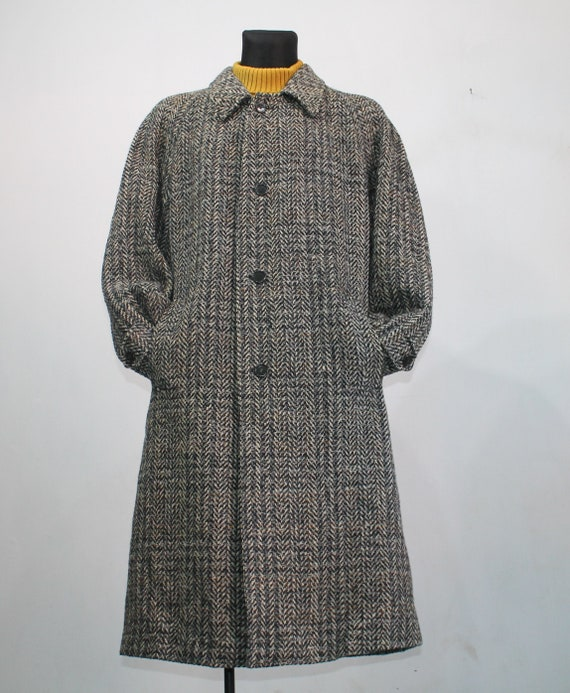 Mens 70s Vintage MOESSMER ITALY Tweed Herringbone