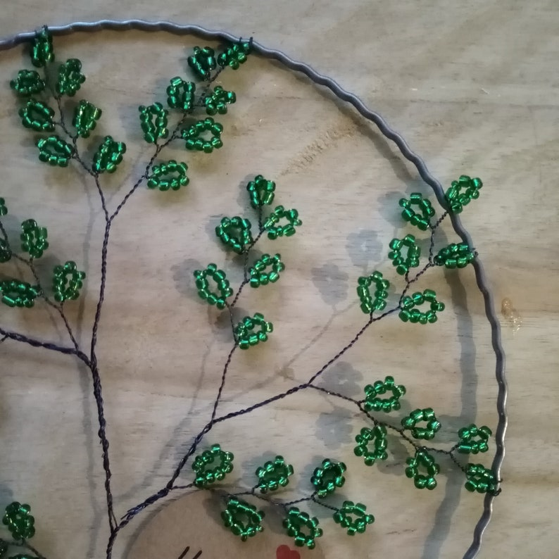 Tree of life glass suncatcher tree green glass beads with silver core window picture