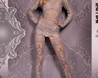 a25a796282e Luxury Pattern Stockings (416) - Printed Stockings in Grey OR Black