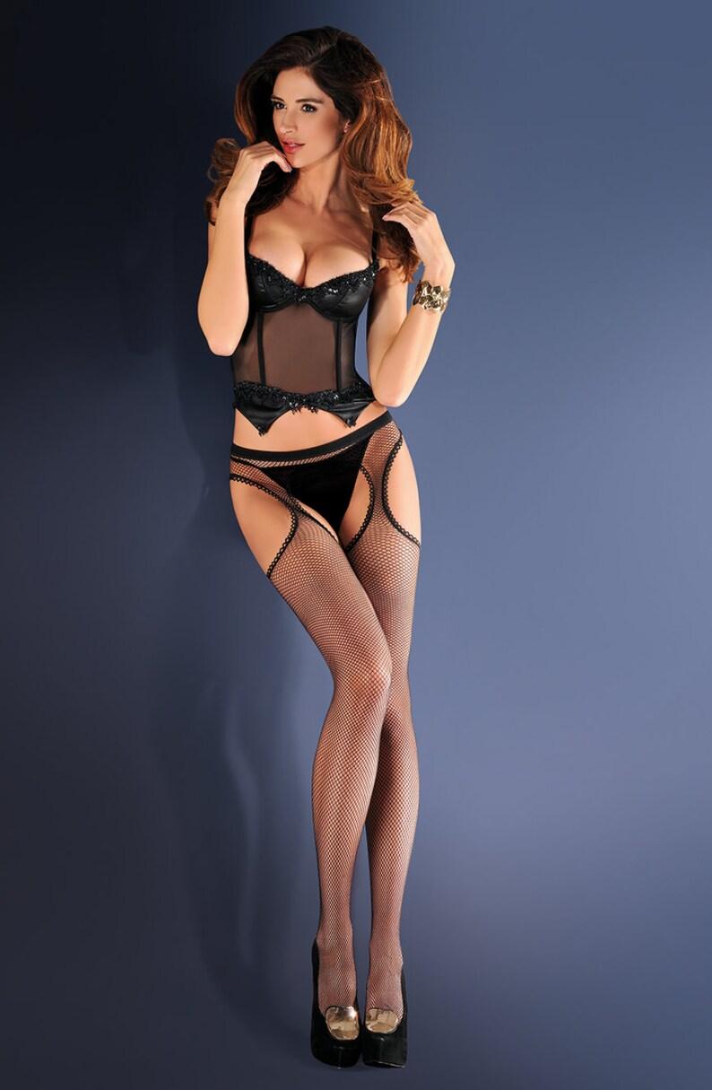 Black Fishnets /& Suspender Belt 636