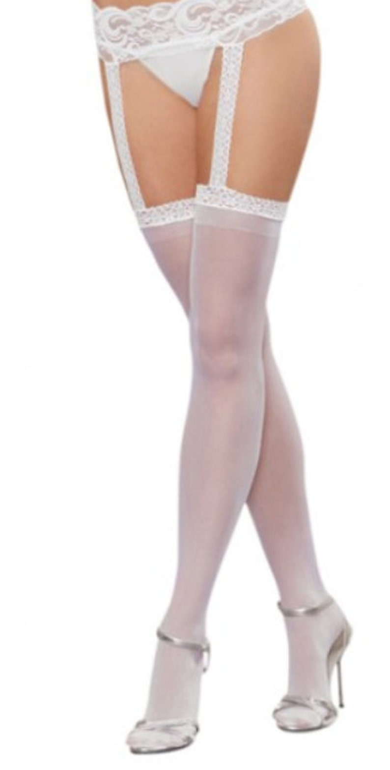 84788bff33a White Bridal Stockings Attached Garter Belt White Wedding