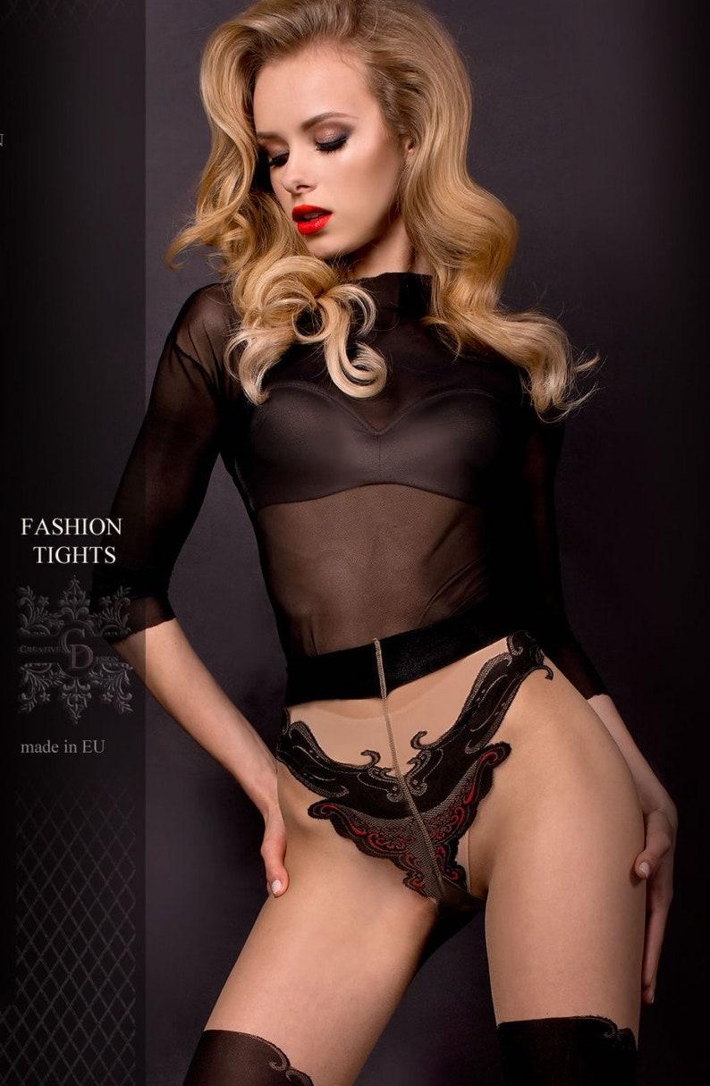 309 Luxury Printed Tights Black Pattern Tights