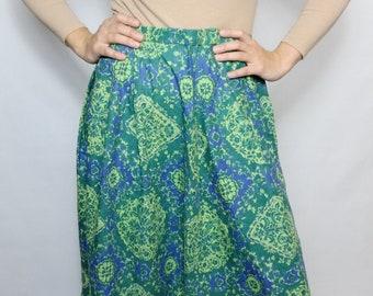 6c438b732a1266 Vintage lange rok blauw groene dagelijkse mode bloemen oude school stof