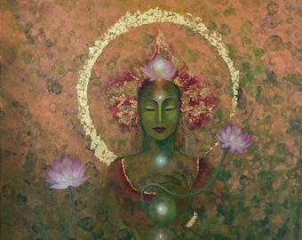 Green Tara ~ Goddess of Healing & Protection~Spiritual Home Décor~ Wall Art Print ~fits Frame 30x40cm/12x16inchs ~ with Gold Leaf Option!