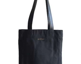 Black canvas tote bag with genuine leather straps, canvas shopper