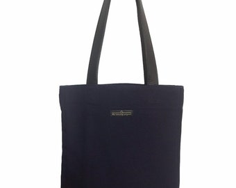 Navy canvas tote bag, navy shoulder bag, leather straps, navy tote, small batch production, made in Montreal