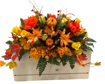 Autumn  Mix Cemetery Saddle - Fall Cemetery Flowers - Cemetery Decoration -Cemetery saddle
