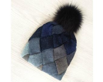 6be8a33a599fb1 Knit Women's double wool hat, entrelac technique, multicolored double beanie